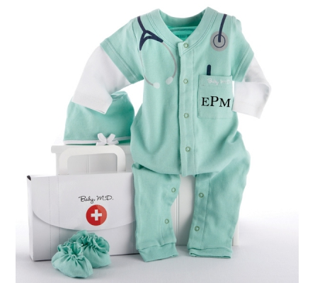 Big Dreamzzz Baby M.D. Three-Piece Layette Set in Doctor's Bag Gift Box