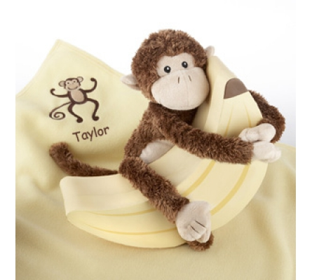 Plush Monkey Magoo and Blankie Too! in Keepsake Banana Gift Box