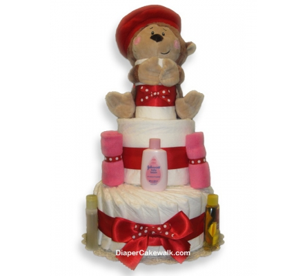 Eek the Monkey Baby Girl Diaper Cake