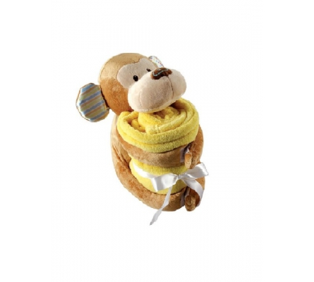 Plush Monkey Animal & Blanket, Yellow