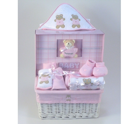 Forever Baby Girl Book & Layette Baby Gift Basket