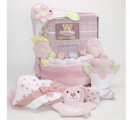 Forever Baby Book Towel & Baby Blanket Cake-girls