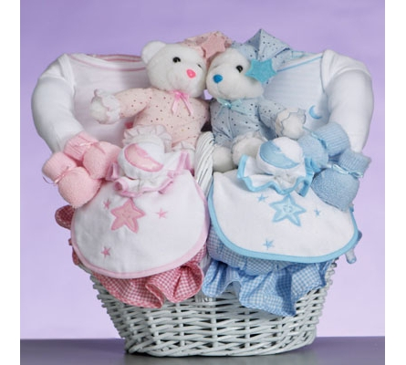Celestial Baby Gift Basket for Twins