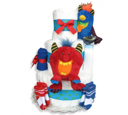 Baby Monsters Diaper Cake 3 Tier