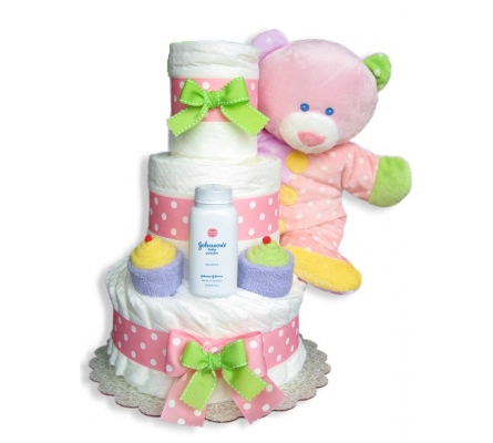 Baby Dimples Pink 3 Tiers Diaper Cake