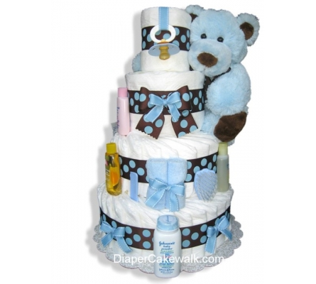Brown & Blue 4 Tiers Diaper Cake