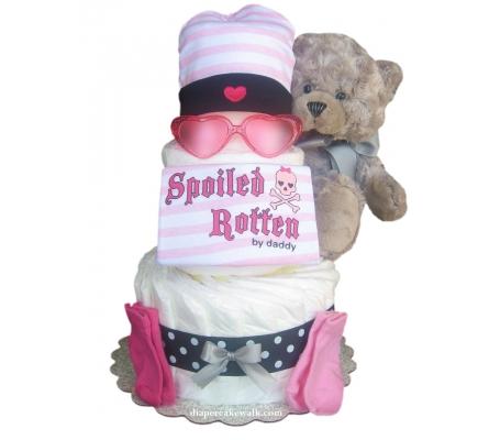 Rockin Rebel Pink Diaper Cake