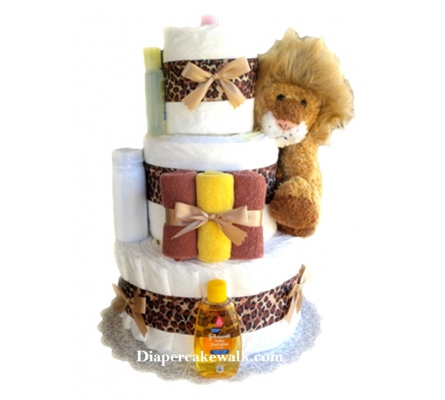 Cuddly Lion Mini Diaper Cake
