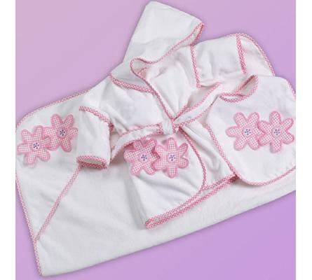 3-Piece Bath & Bib Baby Gift Set-Daisies