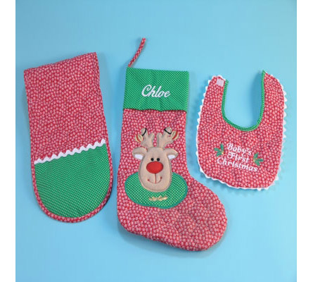 Baby'S First Christmas Stocking Personalized Baby Gift Set