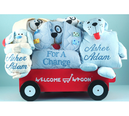 Deluxe Puppy Welcome Wagon Personalized Baby Boy Gift