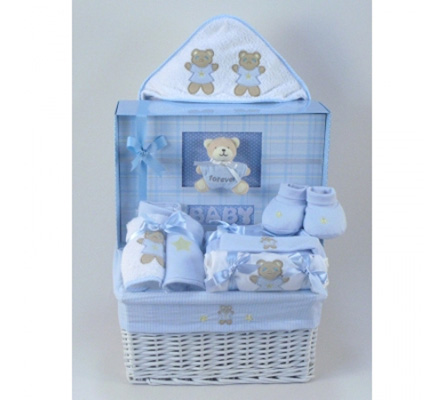 Forever Baby Book & Layette Baby Gift Basket-Boy
