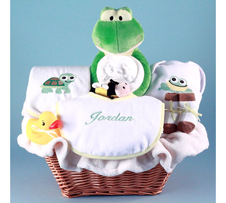Friendly Frog Personalized Baby Gift Basket