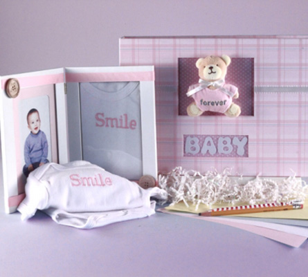 Keepsake Photo Album & Picture Frame Baby Girl Gift Set