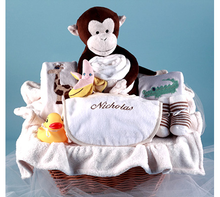 Monkey & Pals Personalized Baby Gift Basket