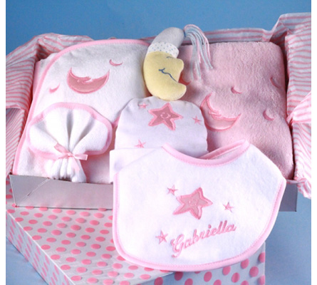 Moon & Stars Personalized Layette Baby Girl Gift