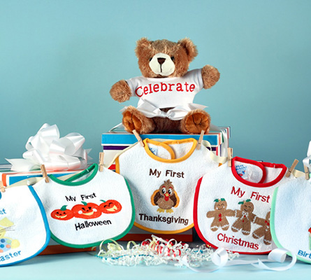 My First Holiday Bibs & Bear Baby Gift Set
