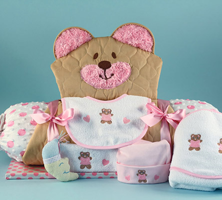 Quilted Bear Play & Changing Mat Layette Baby Girl Gift