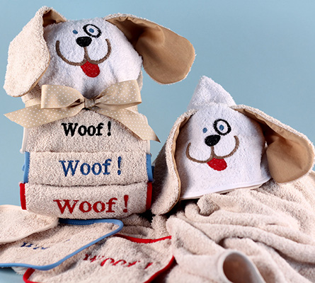 Woof, Woof, Woof Baby Hooded Towel-Personalized