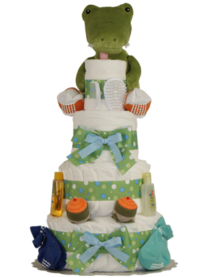Croc in Socks Boys Diaper Cake