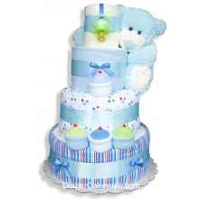Blue Sampler Baby Diaper Cake
