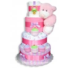 Pink Sampler Baby Diaper Cake