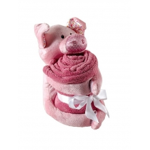 Plush Pig Animal & Blanket, Pink