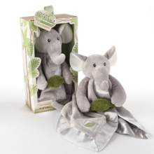 Ekko the Elephant Little Expeditions Plush Rattle Lovie with Crinkle Leaf
