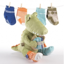 Croc in Socks Plush Toy and Baby Socks Gift Set (Green)