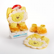 Chomp & Stomp Lion Bib and Booties Gift Set
