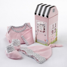 Welcome Home Baby! 3-Piece Layette Set in Keepsake Gift Box (Pink)
