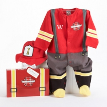 Big Dreamzzz Baby Firefighter Two-Piece Layette Set in Firefighter-themed Gift Box