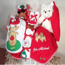 Merry Christmas Baby Gift Basket - Personalized