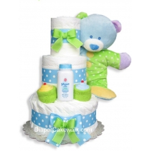 Baby Dimples Blue 3 Tiers Diaper Cake