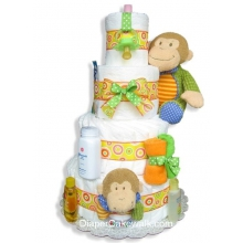 Baby Monkey Diaper Cake 4 Tier