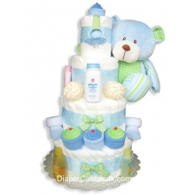 Sweet Baby Blue Diaper Cake 4 Tiers
