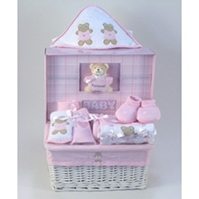 Forever Baby Book & Layette Baby Gift Basket-Girl
