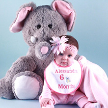 Giant Elephant Plush Personalized Baby Gift Set