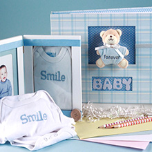 Keepsake Album & Photo Frame Baby Boy Gift Set