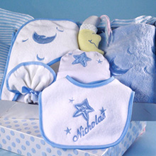 Moon & Stars Personalized Layette Baby Boy Gift