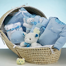 Moses Basket & Layette Deluxe Baby Boy Gift