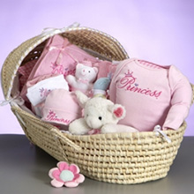 Moses Basket & Layette Deluxe Baby Girl Gift