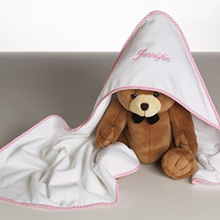 Personalized Hooded Towel & Plush Bear Baby Girl Gift