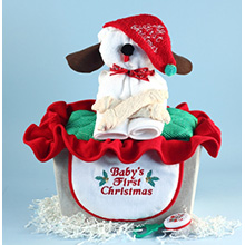 Puppy Christmas Baby Gift Basket