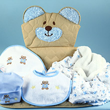Quilted Bear Play & Changing Mat Layette Baby Boy Gift Set