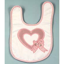 Satin Heart Applique Baby Bib