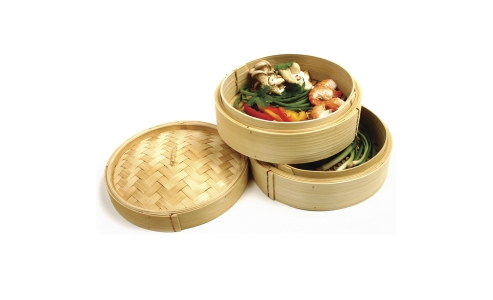 Norpro 2 Tier Bamboo Steamer With Lid 1963
