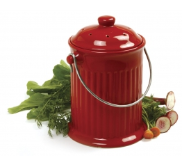 Norpro 1G Ceramic Compost Crock, Red 93R