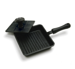 Norpro Pre-Seasoned Cast Iron Mini Panini Pan With Press 653
