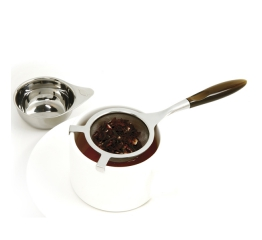 Norpro Stainless Steel  Tea Strainer With Brown Handle/Drip Cup 5573